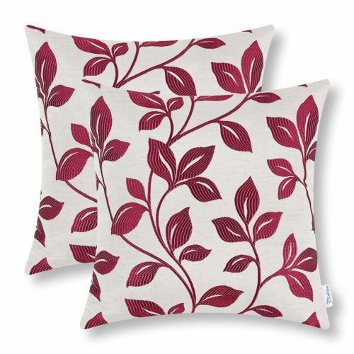 CaliTime Pack of 2 Soft Throw Pillow Covers Cases for Couch Sofa Home Decor, Cute Growing Leaves, 18 X 18 Inches, Burgundy