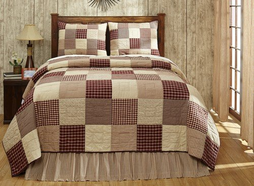 Cheston Patchwork Block Queen Quilt Set with 2 Standard Shams - Primitive Country Burgundy
