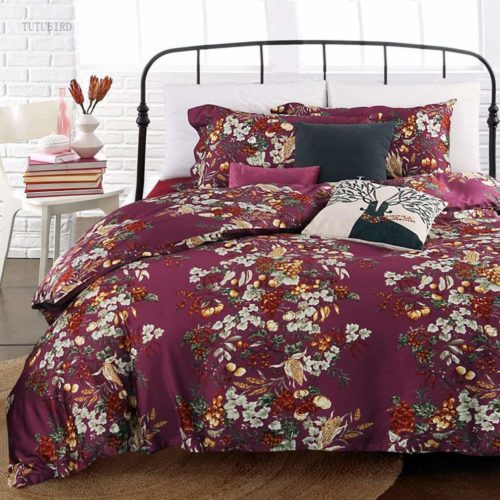 Eikei Shabby Chic French Country Garden Floral Duvet Quilt Cover by, Colorful Blossom Fruit Print Reversible Cotton Bedding Set Cottage Style Blooming Orchard Meadow Flowers (Queen, Burgundy)