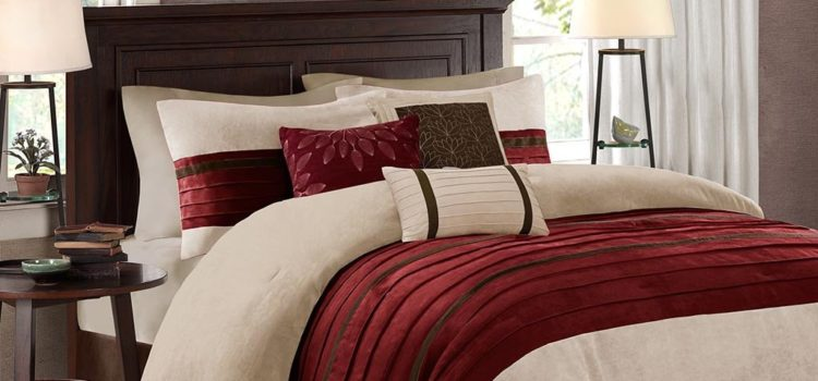 Red and Beige Cream Bedding