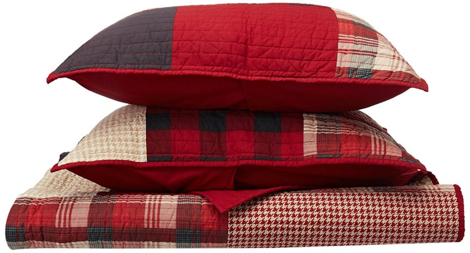 Woolrich Sunset Full-Queen Size Quilt Bedding Set - Red, Plaid – 3 Piece Bedding Quilt Coverlets – Cotton Bed Quilts Quilted Coverlet