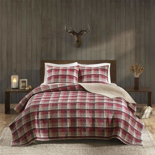 Woolrich Tasha Full-Queen Size Quilt Bedding Set - Red, Plaid – 3 Piece Bedding Quilt Coverlets – Cotton Flannel Bed Quilts Quilted Coverlet