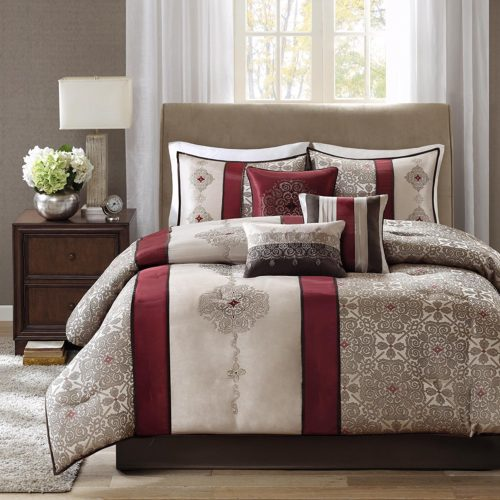 Red and Beige Cream Bedding Comforter Set Bed In A Bag - Taupe, Burgundy, Jacquard Pattern – 7 Pieces Bedding Sets – Ultra Soft Microfiber Bedroom Comforters