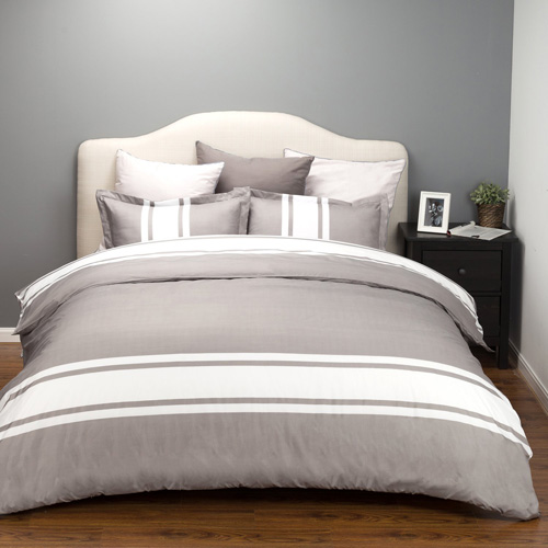 Bedsure Duvet Cover Set with Zipper Closure-Grey White Stripe Design,Full Queen(90x90)-2 Piece (1 Duvet Cover + 2 Pillow Sham)-Ultra Soft Hypoallergenic Microfiber