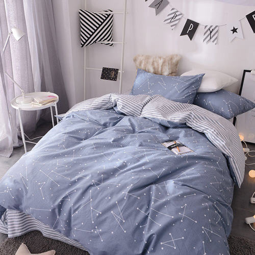 BuLuTu Space Constellation Kids Bedding Duvet Cover Set Full Blue For Boys Girls,ON SALE Reversible Premium Cotton Hotel Striped Bedroom Bedding Sets Queen Comforter Cover Zipper Closure,NO FILLING at lux comfy bedding