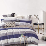 Modern Striped Bedding Set - Cabana Stripe Modern Duvet Cover 100-Cotton Twill Bedding Set Geometric White and Navy Distressed Rugby Stripes Print in Dusty Blue Shades Reversible (Queen, Dusty Blue Raisin) at lux comfy bedding