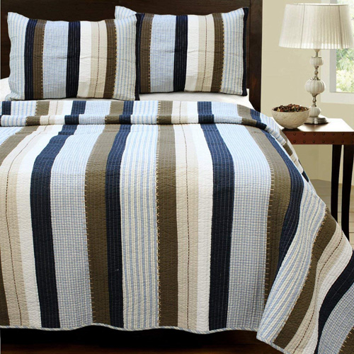 Cozy Line Home Fashions Nathan Quilt Bedding Set, Navy Blue White Brown Plaid Striped 100 percent Cotton, Reversible Coverlet, Bedspread Set, Gifts for Boy Men Him Nathan Patchwork, Queen -3 piece at lux comfy bedding