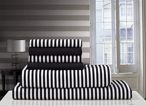 Debra Valencia Awning Striped Sheets By Duke-Full Size-Black White-6 Pc Set 2 Bonus pillowcases! at lux comfy bedding