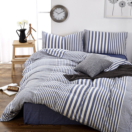 HIGHBUY Striped Pattern Queen Duvet Cover Set Cotton Blue White Printed Bedding Sets Full Size 3 Piece with Zipper Closure Simple Modern Full Bedroom Collections for Queen Bed at lux comfy bedding