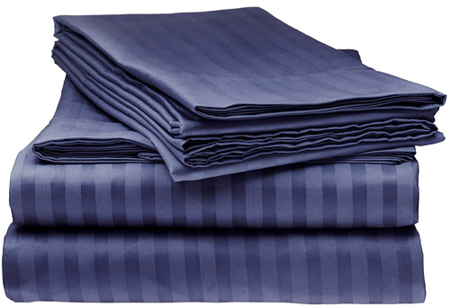 ITALIAN Prestige Collection 4PC FULL Striped Sheet Set, NAVY at lux comfy bedding