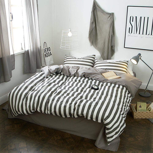 LifeTB Hotel Luxury Striped Bedding Set King Cotton Microfiber Reversible Duvet Cover Set Modern Men Boys Bedding Cover Set 1 Duvet Cover 2 Pillowcases King Bedding Collection at lux comfy bedding