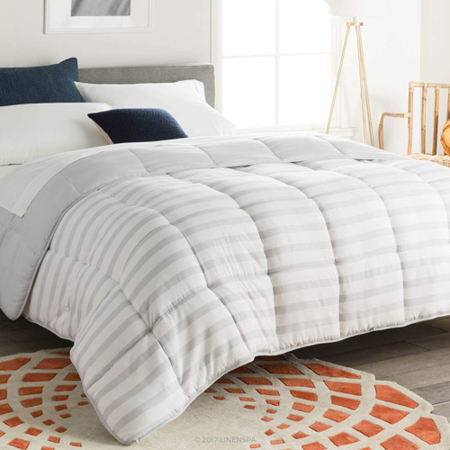 Linenspa Reversible Striped Down Alternative Quilted Comforter with Corner Duvet Tabs - King Size at lux comfy bedding