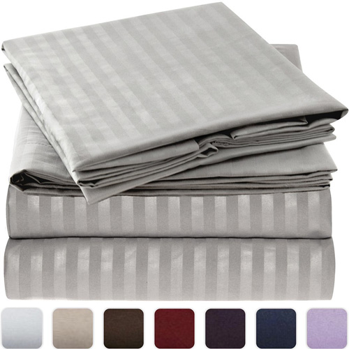Mellanni Striped Bed Sheet Set - Brushed Microfiber 1800 Bedding - Wrinkle, Fade, Stain Resistant - Hypoallergenic - 4 Piece (King, Gray Silver) at lux comfy bedding