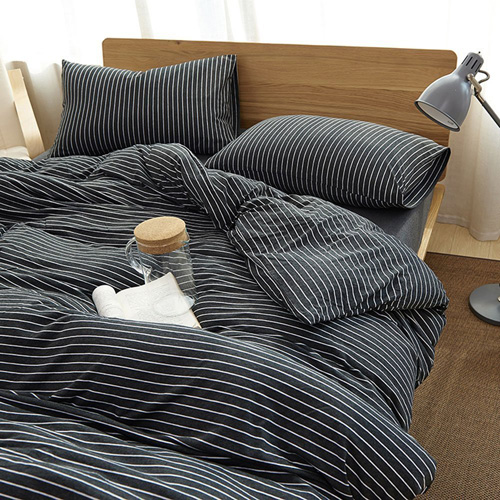MisDress Ultra Soft Jersey Knit Cotton Striped Pattern 3 Pieces Duvet Cover Set Soft and Durable Comforter Cover and Pillow Shams Black White Stripes Queen Size at lux comfy bedding