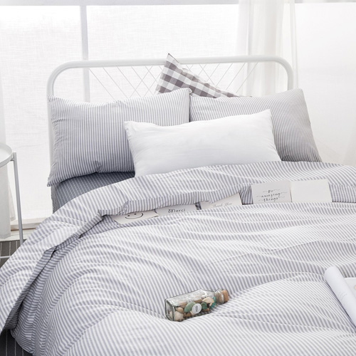 Wake In Cloud - Gray White Striped Duvet Cover Set, 100% Cotton Bedding, Grey Vertical Ticking Stripes Pattern Printed on White, with Zipper Closure (3pcs, Queen Size) at lux comfy bedding