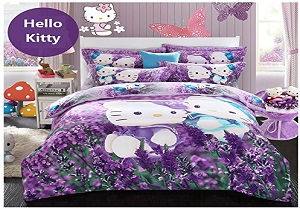 lavender girls' bedding set, lavender hello kity girls' comforter set