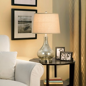 Catalina 19560-000 3-Way 24-Inch Mercury Glass Gourd Table Lamp with Beige Linen Drum Shade, Brushed Nickel ac21