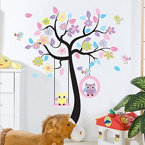 Charming Art Colorful Tree Decals with Hanging Owl, DIY Wall Decor, Pink Owl Wall Sticker, Owl Wallpaper for Kids Room, Reusable Stickers by LaceDecaL Ac13