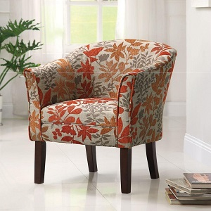 Floral Barrel Back Accent Chair Bedroom Accessories
