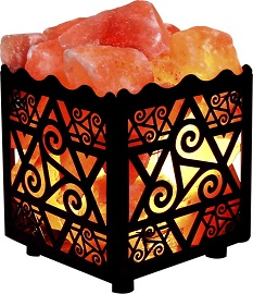 Crystal Decor Natural Himalayan Salt Lamp in Star Design Metal