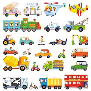 Decowall, DW-1405, The Transport peel & stick Nursery wall decals stickers ac14
