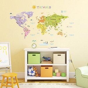 Decowall,DMT-1306,The World Map peel & stick wall decals stickers (Large) Ac15