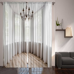 "Digital Graphic Print Elegant Balcony Designer's Collection Window Curtain 2 Panel 108""x90"" 4932 Exclusive Design Ac10"