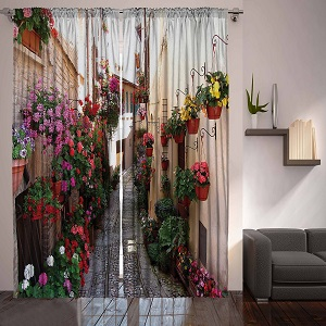 "Digital Graphic Print Flower Alley Designer's Collection Window Curtain 2 Panel 108""x90"" 4933 Exclusive Design ac11"