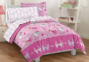 pink girls' bedding set, pink girls' comforter set