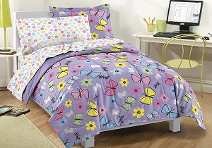 butterfly girls' bedding set, butterfly girls' comforter set
