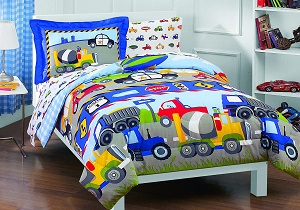 trucks, tractors boys' bedding, comforter set