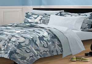 Blue Gray Camo Army Boys Bedding, Blue Gray Camo Army Boys Comforter