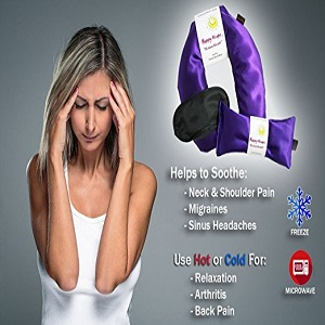 Happy Wraps® Herbal Neck Wrap w/Free Lavender Eye Pillow & Free Sleep Mask - Microwave or Freeze - Aqua Satin Ac2
