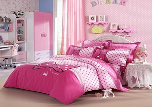 girls duvet set, bowknot girls' comforter set