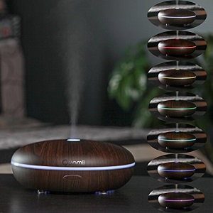 Quamii Essential Oil Diffuser with 7 Color Changing LED Lamp, 400 ml (Dark Bamboo Woodgrain) ac3