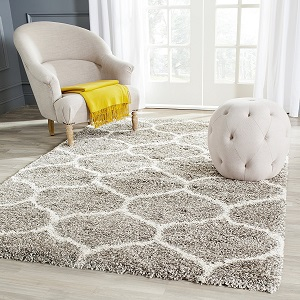 "Safavieh Hudson Shag Collection SGH280B Grey and Ivory Area Rug, 5 feet 1 inches by 7 feet 6 inches (5'1"" x 7'6"") ac25"