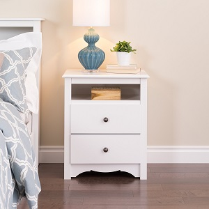 White Monterey Tall 2 Drawer Nightstand with Open Shelf ac22