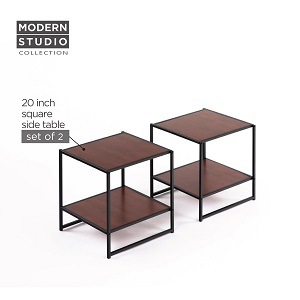Zinus Modern Studio Collection Set of Two 20 Inch Square Side / End Tables / Night Stands ac23