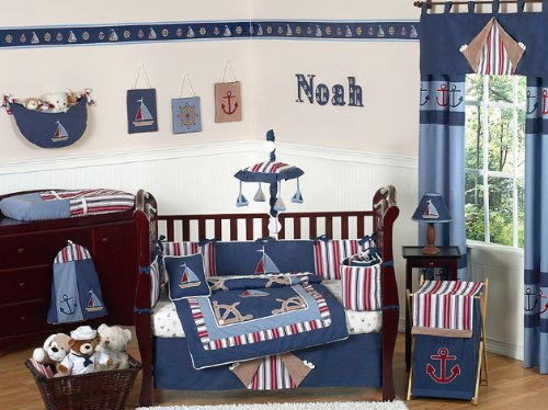 Red White Blue Baby/Kids Clothes Laundry Hamper for Sweet Jojo Designs for Nautical Nights Bedding Sets