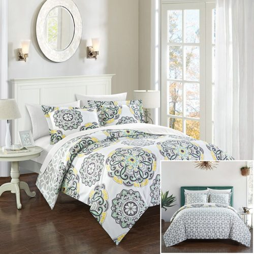 Chic Home Ibiza 3 Piece Yellow Duvet Set, Full/Queen, Grey, Yellow Floral Bedding