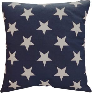 "Decorative Printed Star Floral Throw Red White & Blue Pillow Cover 18"" Navy"