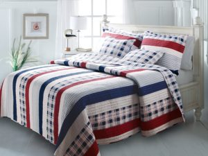 Red White Blue Bedding Nautical Stripes Quilt set