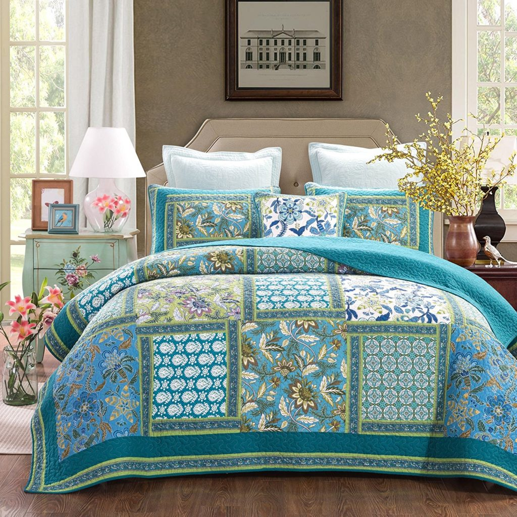 Dada Bedding Mediterranean Fountain Bohemian Reversible Cotton Real Patchwork Quilted Coverlet Bedspread Set - Floral Paisley Turquoise Teal Blue Green Print - 3 pieces