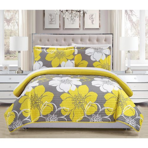 Yellow Floral Bedding - Reversible, 3-Piece Queen Yellow Floral Quilt set