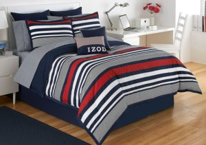 izod varsity red white blue stripe comforter set