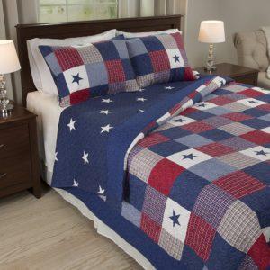 red white blue bedding quilt set