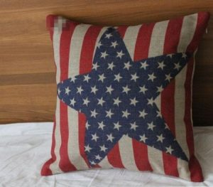 vintage style american flag red white blue pillow