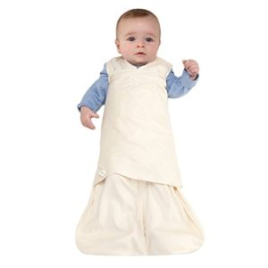 HALO Sleep Sack 100% Cotton Swaddle, Cream, Small arms free