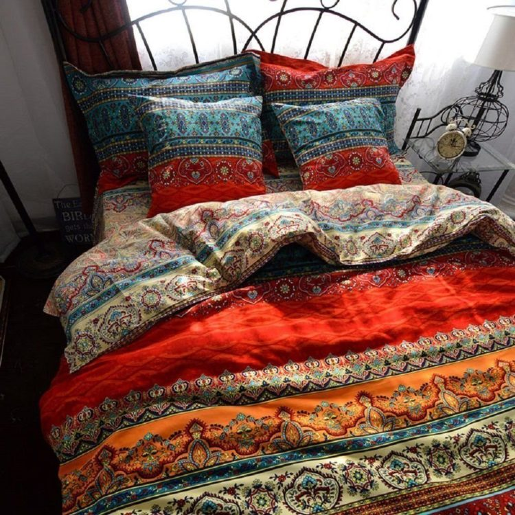 Bohemian Chic Exotic Style Bedding Duvet Cover Sets, Bohemian Queen, Boho Bedding