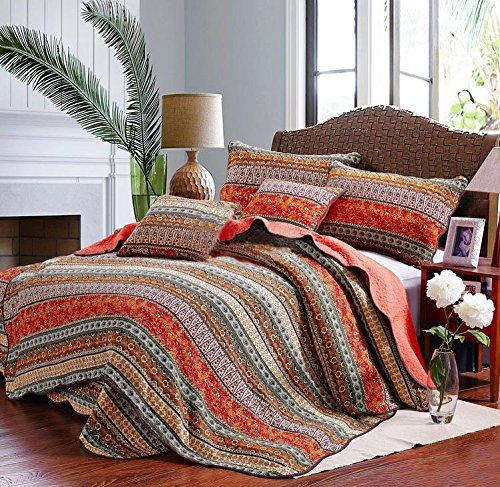Boho Bedspread Quilt Sets, Bohemian Queen, Best Striped Classical Cotton 3-Piece Patchwork